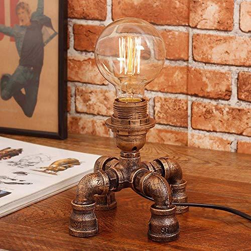 Xiao Fan antieke industriële waterleiding tafellamp LED bureau licht E27 fitting (gloeilamp niet inbegrepen) (grootte: A)