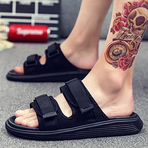 Zapatillas Antideslizantes para Mujeres,Zapatos casuales de playa para hombre, con pegatinas mágicas antideslizantes ajustables sandalias de fondo suave-black_43,EVA Masajes Playa Chanclas Sandalia