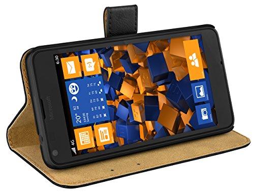 mumbi Echt Leder Bookstyle Hülle kompatibel mit Microsoft Lumia 640 Hülle Leder Tasche Hülle Wallet, schwarz
