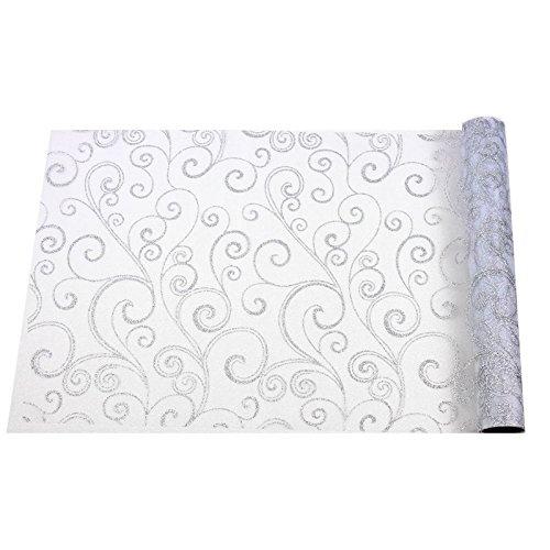 Chaks C52030032 - Chemin de Table Organza Arabesques 36cm x 5m, Blanc/Argent