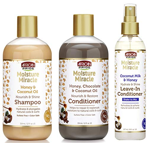 African Pride Moisture Miracle Shampoo, Conditioner and Leave-in Conditioner SET, Coconut Oil, Honey, Chococlate, Coconout Oil and Milk