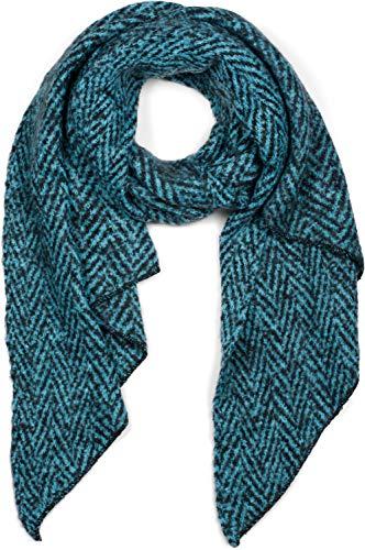 styleBREAKER Damen weicher Web Schal mit Zick Zack Zacken Muster in asymmetrischer Form, warm Winter, Stola 01017129, Farbe:Türkis-Schwarz