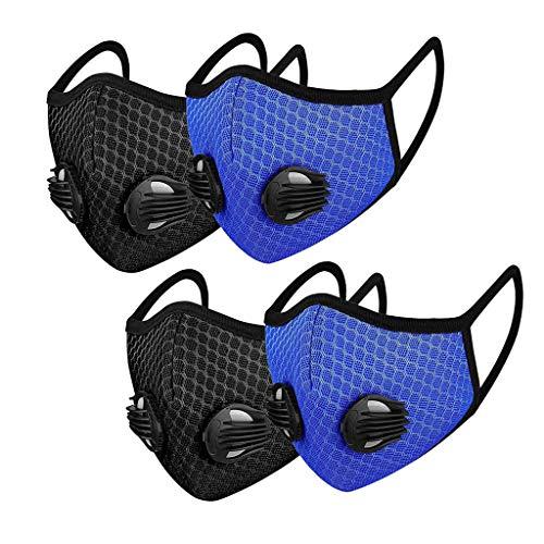 Gusspower_ 4PC Bandana Gesichtsbedeckung gegen Staub Mundschutz für Pollenallergie, Laufen, Radfahren, Outdoor-Aktivitäten, 2 Schwarz + 2 Blau