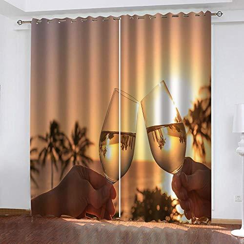 ZZDXL Cortina Copa De Vino Cortinas Opacas Cortas Dormitorio Moderno Cortinas Cortinas Opacas Cortinas Habitacion CortinasTermicas AislantesFrioY calor150X166