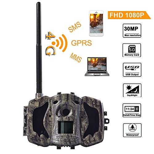 BolyGuard 4G 3G cellulaire 30MP 1080P HD Caméra de chasse la faune Scouting GPRS MMS SMS Vision nocturne numérique Infragouge IP65 Water Protected Design (MG984G-30M)