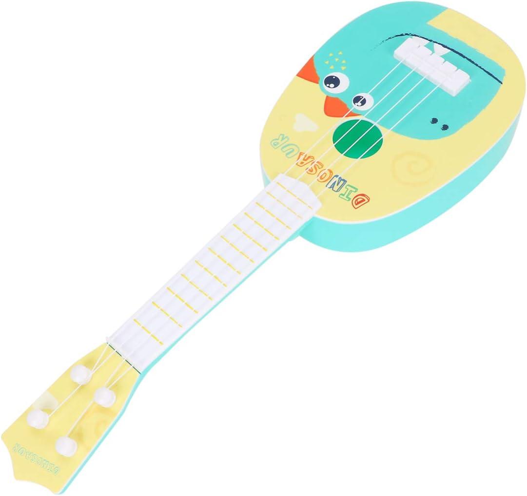EXCEART 14. Mini ukelele de 17 pulgadas, guitarra de 4 cuerdas, juguete musical con dinosaurios de dibujos animados, para niños pequeños, juguete de música pedagógica, 1 unidad