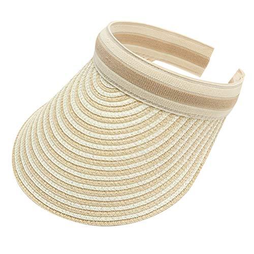 VALICLUD Gorra de Visera para El Sol con Clip de Paja de ala Ancha para Mujer Protección Ultravioleta Ajustable Sombrero de Pesca Diadema para Playa Deportes Al Aire Libre Golf de Playa