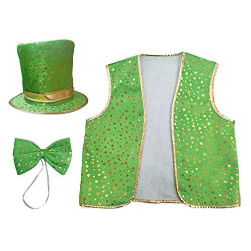 Amosfun 3Er Irischer Kobold Kostüm für Herren St. Patricks Day Kostüm Zylinder Krawatte Weste Dekorationen Grün Ich Party Kostüm
