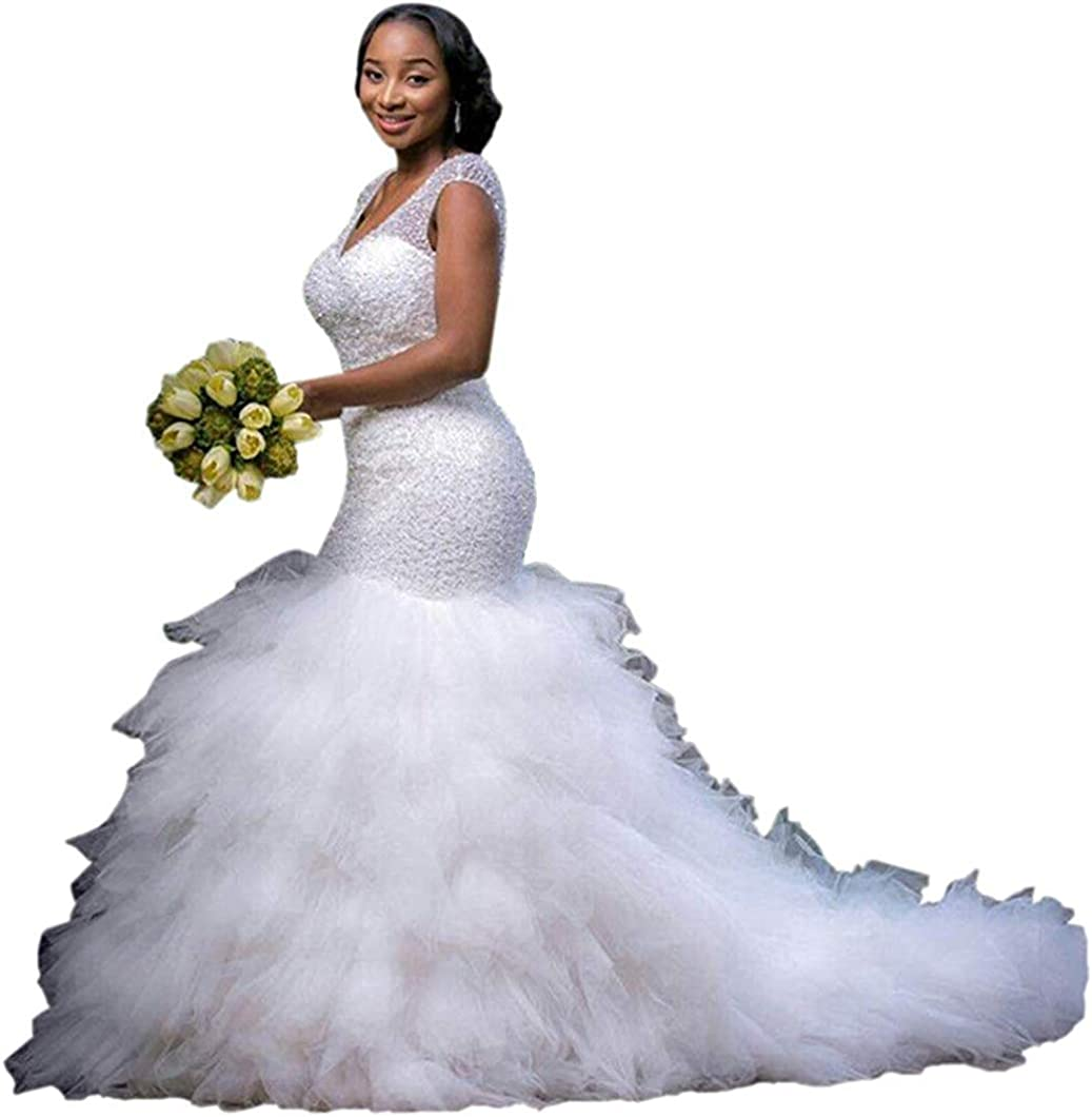 Gorgeous Women's Mermaid Wedding Dress for Bride Sweetheart Cap Sleeve Cathedral Train Plus Size