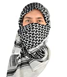 Mato & Hash Military Shemagh Tactical 100% Cotton Scarf Head Wrap - White/Black CA2100-2