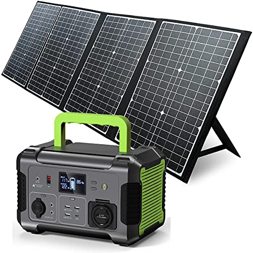 Portable Power Station with Solar Panel Included, 519Wh Solar Generator with 120W Foldable Solar Charger, MPPT, 12V Regulated Power Supply, 110V Pure Sine Wave AC Outlet, CPAP Backup Lithium Battery