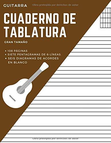 Guitarra Cuaderno de Tablatura Gran Tamaño 108 páginas Siete Pentagramas de 6...