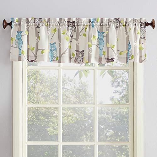 "No. 918 45083 Hoot Owl Print Kitchen Curtain Valance, 56"" x 14"", Mocha Brown"