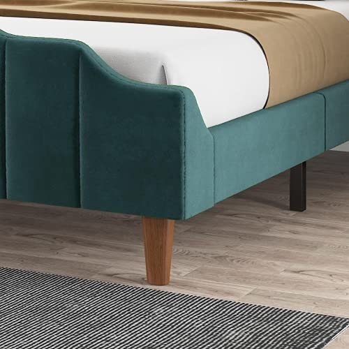 Amolife Upholstered Velvet Queen Bed Frame/Platform Bed Frame with Headboard and Footboard/Mattress Foundation with Wood Slat Support, Navy Blue