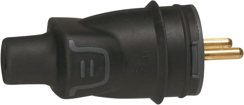 Noir ou Legrand Prolongateur 16 A caoutchouc sortie droite IP 44 Fiche /électrique 2 p/ôles avec terre Legrand 50445 et 50446 Fiche + Prolongateur