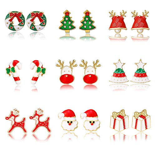 9 Pairs Women Christmas Earring Stud Set,Cute Christmas Tree Wreath Jingle bell Candy for Kids Teens Girls Creative Festive Jewelry Gifts Hypoallergenic (A-12pairs Christmas stud earrings set)