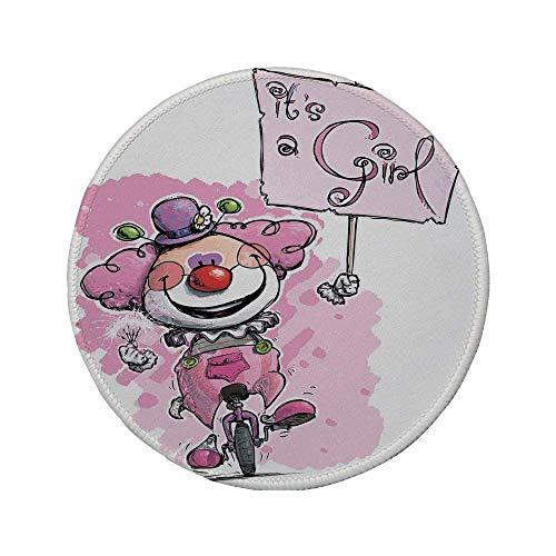 Rutschfreies Gummi-rundes Mauspad geschlechtsspezifische Dekorationen künstlerischer Clown auf dem Einrad der ein Mädchen-Plackard hält Baby Pink Red Green 7.9