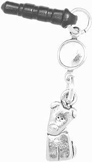 Clayvision German Shepherd Beagle Tilt Dog Phone Charm with Swarovski Clear Crystal April Black Plug