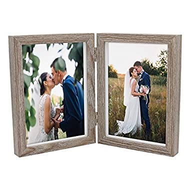 SUMGAR Double Picture Frame 5x7 Vertical Rustic Wooden Hinged Photo Frames Shadow Box for Barn Wedding Gift