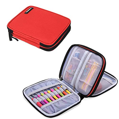 Damero Crochet Hook Case, Organizer Zipper Bag with Web Pockets for Various Crochet Needles and Knitting Accessories, Well Made and Easy to Carry, Medium, Red (No Accessories Included)