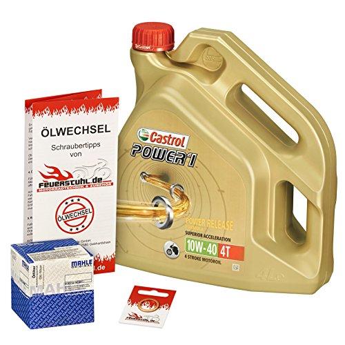 Castrol 10W-40 Öl + Mahle Ölfilter für Yamaha MT-03, 06-14, RM02 - Ölwechselset inkl. Motoröl, Filter, Dichtring