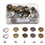 Aweisile Botones 100 Sets Botones para Vaqueros Botones de Metal Reemplaza Los Botones Botones de Jeans Botones de repuesto para pantalones para Reparaciones de Ropa Chaquetas Correas y Costuras