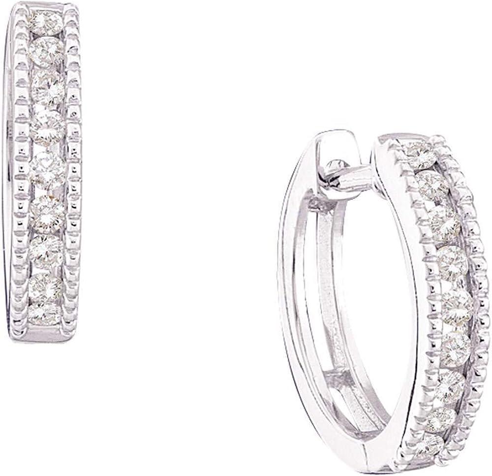 14kt White Gold Round Diamond Milgrain Hoop Earrings 1/4 Cttw