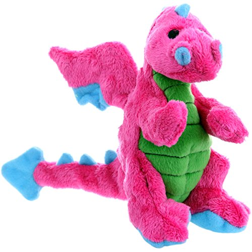 goDog Dragon With Chew Guard Technology Tough Plush Dog Toy, Pink, Small, Bright Pink