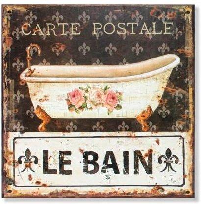 AVENUELAFAYETTE Cadre Tableau Plaque Murale métal Salle de Bain rétro Vintage - 30 x 30 cm (Le Bain)