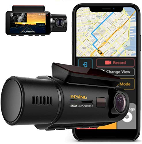 "Rexing V3 Dual Camera Front and Inside Cabin Infrared Night Vision UHD 2160p WiFi Car Taxi Dash Cam with Supercapacitor, 2.7"" LCD Screen, Parking Monitor, Mobile App (2020 Version V3 - with GPS) Cameras On-Dash"