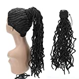 Reina 18' Faux Nu Locs Crochet Hair Ponytail for Black Women Easy to Wear Ponytail Hair Extension for Women(18' 1B)