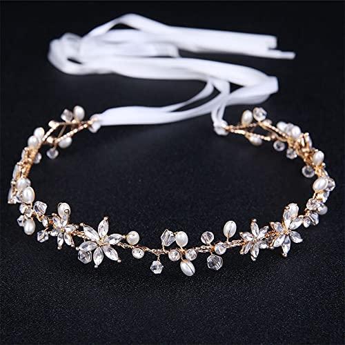 Pinzas para el cabello Accesorios para el cabello de boda Novia Perla Diamante de imitación Banda para la cabeza Flor de novia Accesorios