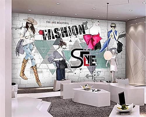Fotomurales Mujer De Moda 3D Papel Pintado Tejido No Tejido Foto Papel Tapiz Cartel Pared Foto Moderna Decoración De Pared Sala Cuarto Oficina Salón 300X210Cm