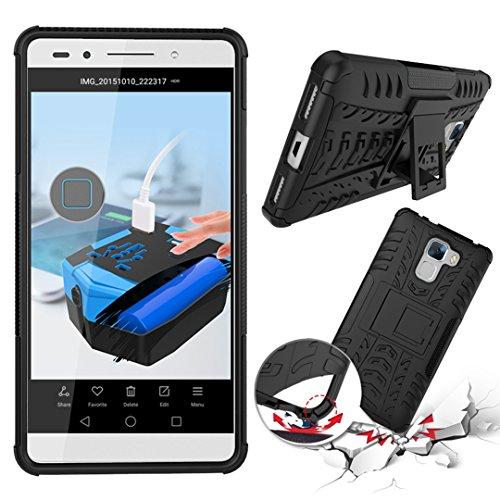 FoneExpert® Huawei Honor 7 Handy Tasche, Hülle Abdeckung Cover schutzhülle Tough Strong Rugged Shock Proof Heavy Duty Case für Huawei Honor 7 (Schwarz) - 2