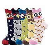 Belloxis Calcetines Mujer Calcetines Divertidos Dibujos Animales Algodon Colores Regalos (Búho, 5)