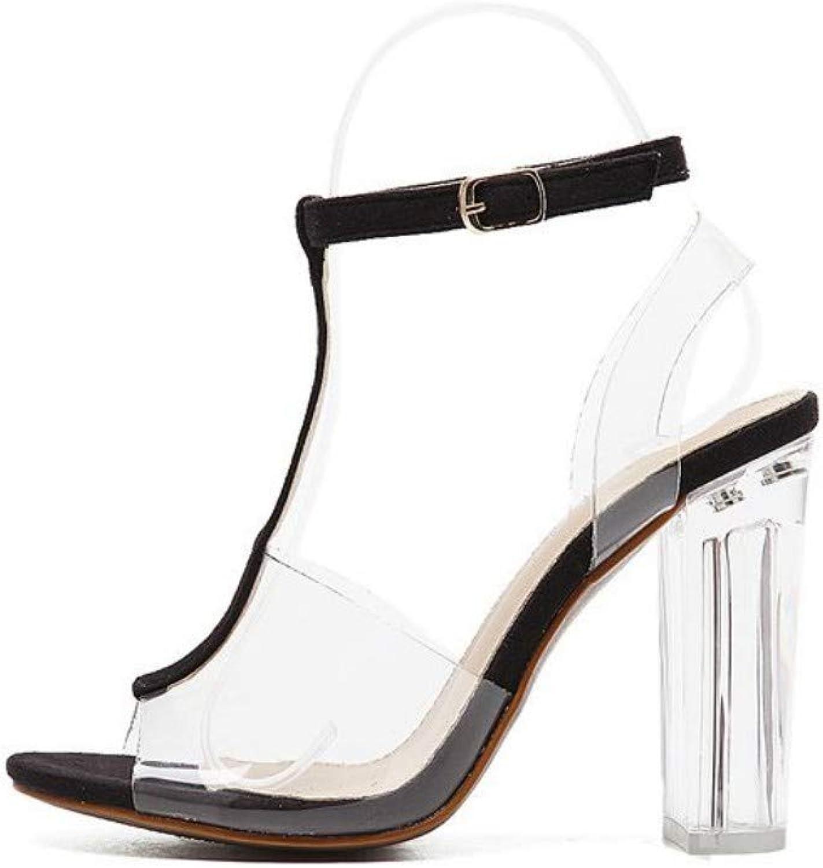 JQfashion Women's High-Heeled shoes Sexy Transparent PVC Thick-Heeled Sandals Roman Crystal Heels