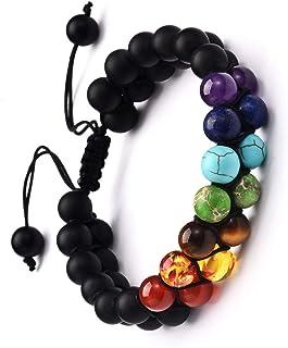 2 pcs Adjustable Length Couple Lava Aromatherapy Beaded Bracelet 7 Chakra Healing Tiger Eye Turquoise Essential Oil Diffus...