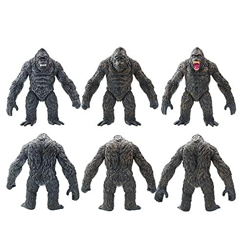 3 Pz Anime Godzilla King Kong Skull Island Figura Animale Dinosauro Gorilla Giocattoli 17Cm, Cartoni Animati Action Figures Mostro Bambola Giocattoli Modello Statua Regalo Per Bambini