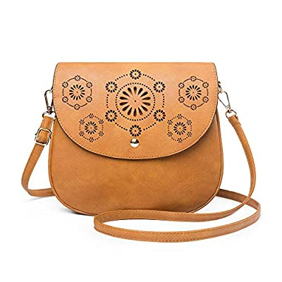 ATUPEIY Double Compartment Flapover Crossbody Bags for Women Vintage Leather Bag Shoulder Bag Purse (New Brown)