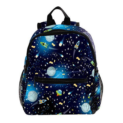 Kid Child Girl Cute Patterns Printed Backpack School Bag,Space Rockets Planets