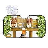 DJNGN Taza de cerveza, barril de madera, flores, carne, vidrio, parasol de coche para parabrisas, protector de parasol para coche, camión, SUV, protector de visera de rayos ultravioleta, efecto reflec