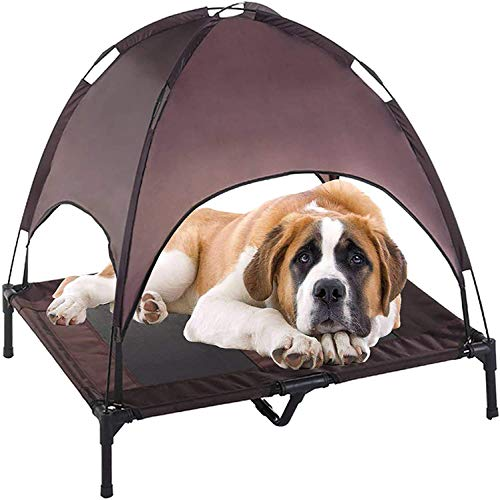 Jolitac Elevated Dog Cot Medium with Removable Canopy Raised Cat Pet Bed Tent Indoor Outdoor Bed Portable Camping Beach Travel Shade 1680D Oxford Fabric Sturdy Steel Frame (M)