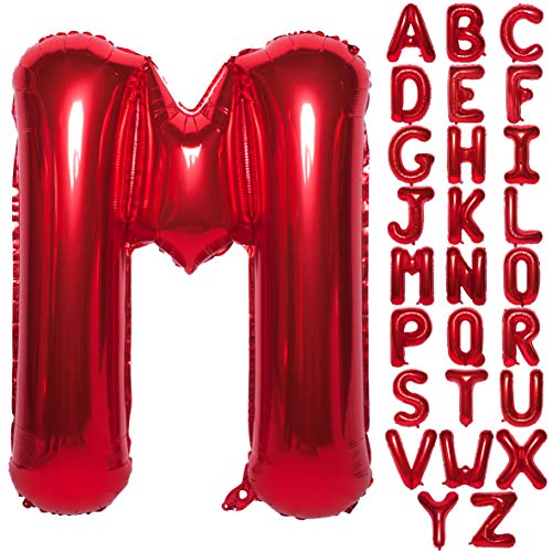 Letter Balloons 40 Inch Giant Jumbo Helium Foil Mylar for Party Decorations Red M