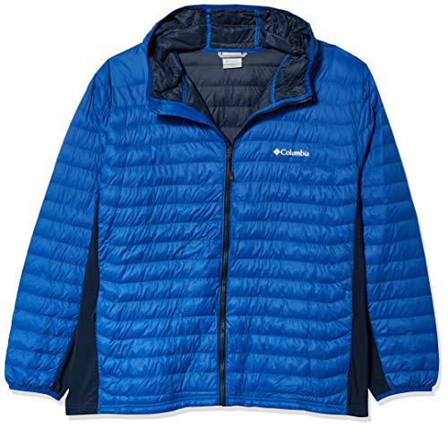 Columbia Powder Pass Hooded Jacket Abrigos de plumón, Azul/Azul Marino Universitario, 4X para Hombre, extendido