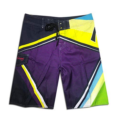 BURFLY Herren Sommer Print Strandurlaub Shorts Nähen Casual Strandhose Surf Shorts Jogginghose