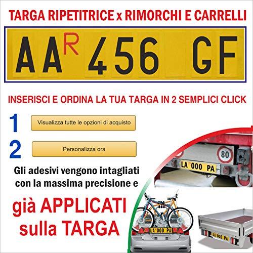 TopQuality Targa Ripetitrice in Alluminio per rimorchi, carrelli appendici con Lettere e Numeri già applicati con Caratteri Omologati e R Rossa Inclusa
