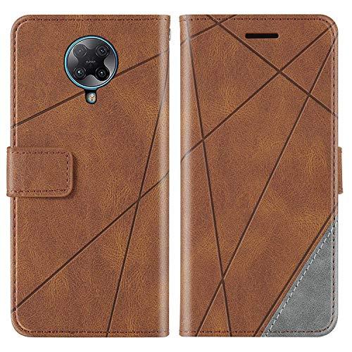 KKEIKO Hülle für Xiaomi Redmi K30 Pro, Brieftasche PU Leder Schutzhülle Klapphülle Tasche mit Kartensteckplatz, Stoßfest TPU Hülle für Xiaomi Redmi K30 Pro - Braun