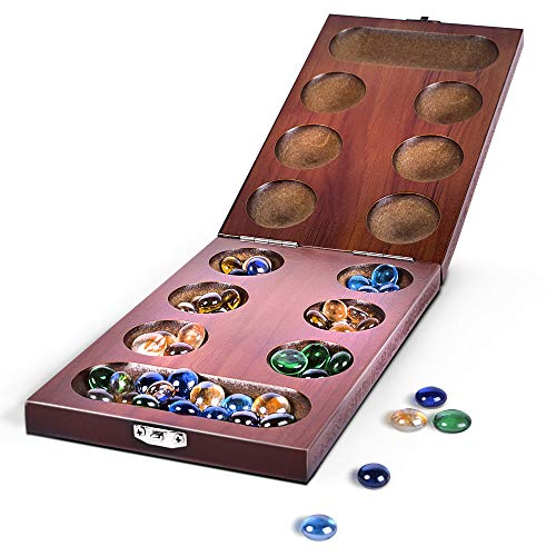 Mancala Wood Folding Set with Colorful Glass Beads by RNK Gaming