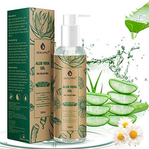 Aloe Vera Gel 100% Natürliche, Kamille Aloe Vera Creme, After Sun Sensitiv gel für Sonnenbrand & Trockene Haut, Reins und Natürliche Pflegende Feuchtigkeitscreme Lotion für Gesicht Körper und Haare