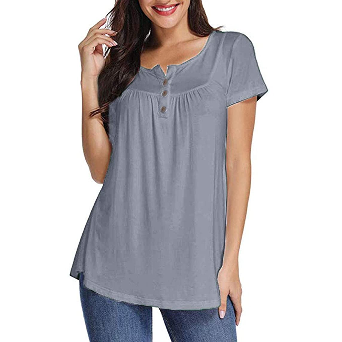 Women Henley Short Sleeve,JKioleg Solid Row Pleats Shirt Button Ruched O-Neck Irregular T-Shirt Tops Hem Blouse